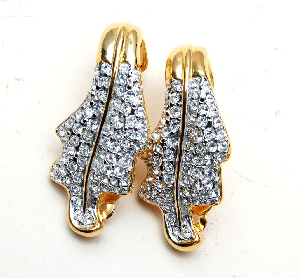 Valentino Curled Leaf and Rhinestone Earrings