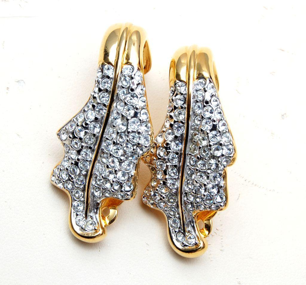Valentino Curled Leaf and Rhinestone Earrings
