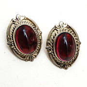 Whiting and Davis Red Stone Earrings