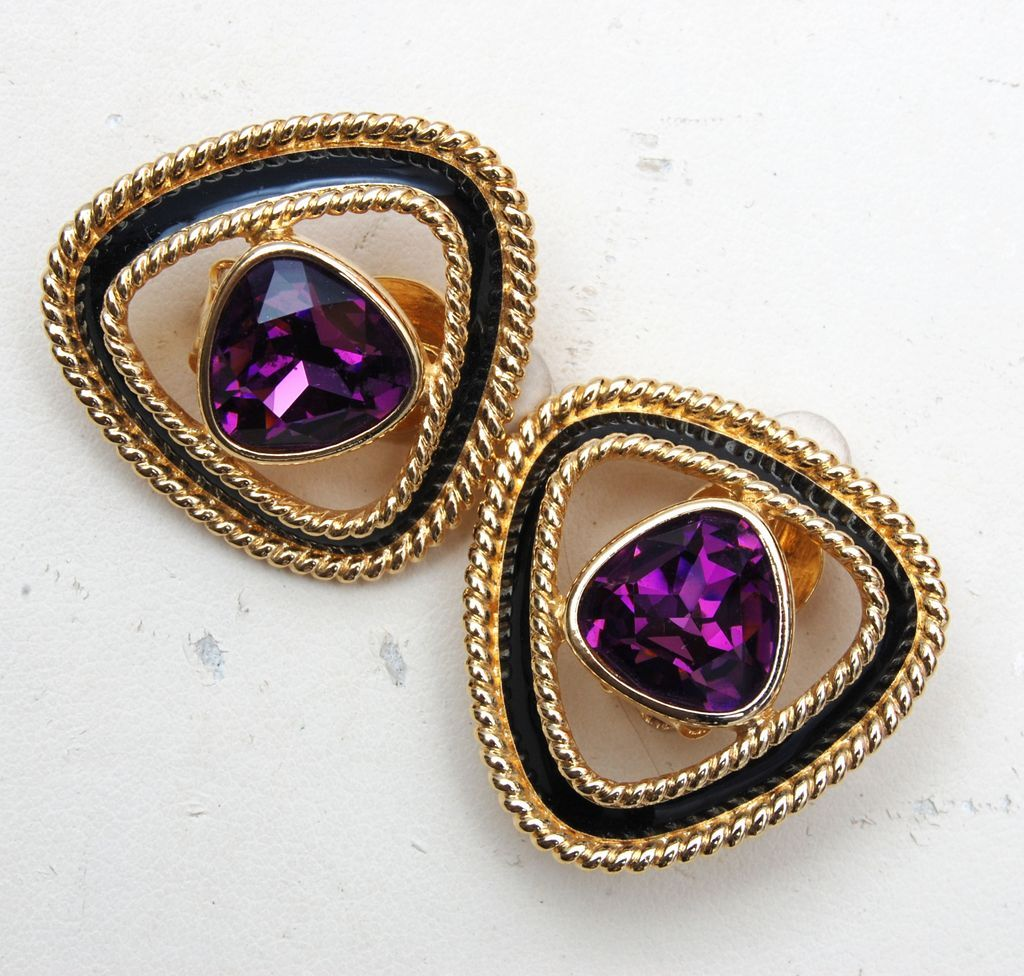 Swarovski Purple Rhinestone and Black Enamel Earrings