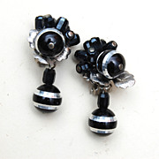 Faceted Black Glass Earrings Lustered in Silver