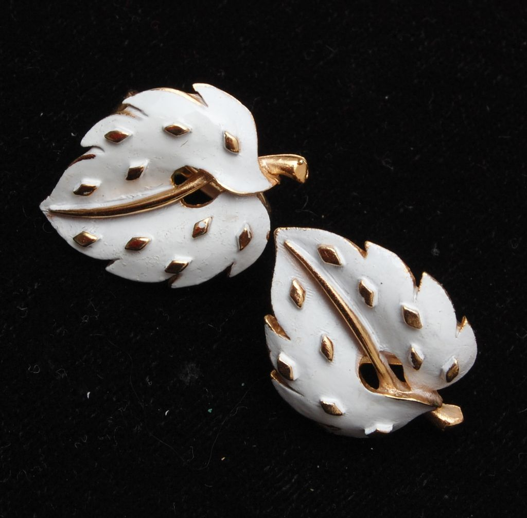 Crown Trifari White Enameled Leaf Earrings