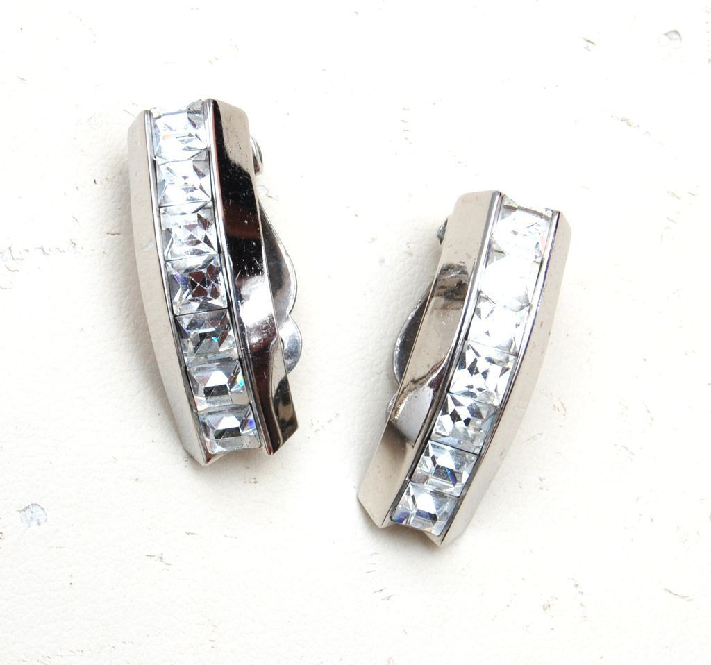 Whiting and Davis Silver Tone Earrings With Rhinestones