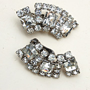 Clear Rhinestone Earrings With Square Rhinestones