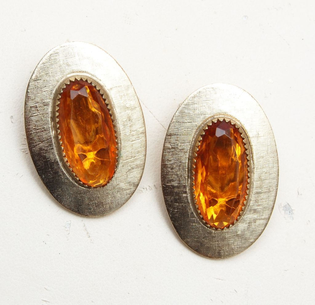 Whiting and Davis Topaz Stone Earrings