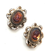 Whiting and Davis Glass Cameo Earrings