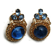 Blue Jelly and Filigree Earrings