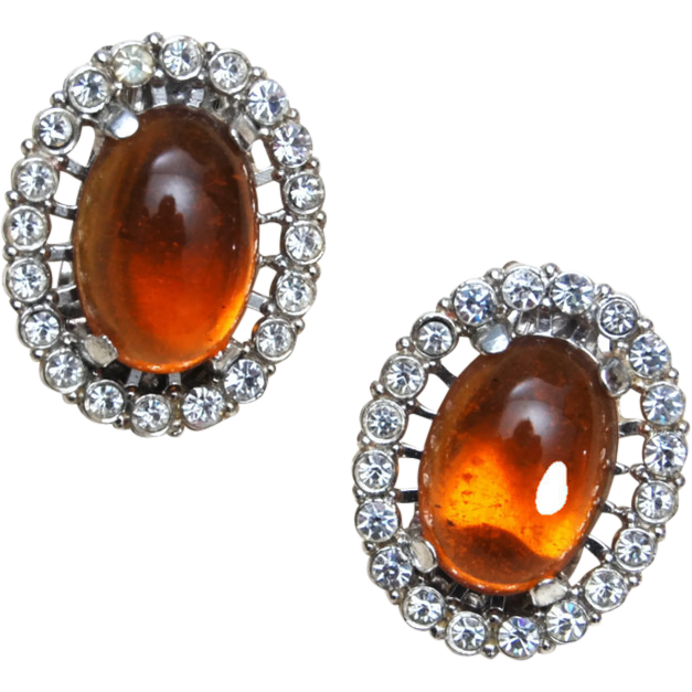 Topaz Jelly and Rhinestone Earrings