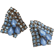 Blue Jelly Earrings - All Prong Set