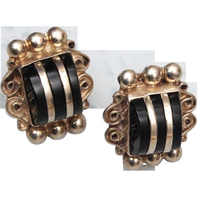 Sterling and Onyx Pierced Earrings