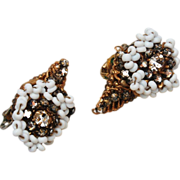 Miriam Haskell White Glass and Rhinestone Earrings