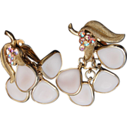 Light Pink Dangling Molded Glass With Pink AB Rhinestones