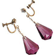 Faceted Purple Glass Dangling Earrings