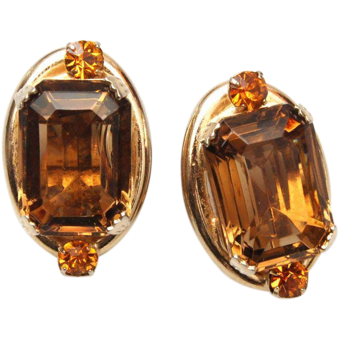 Unfoiled Brown and Topaz Rhinestone Earrings