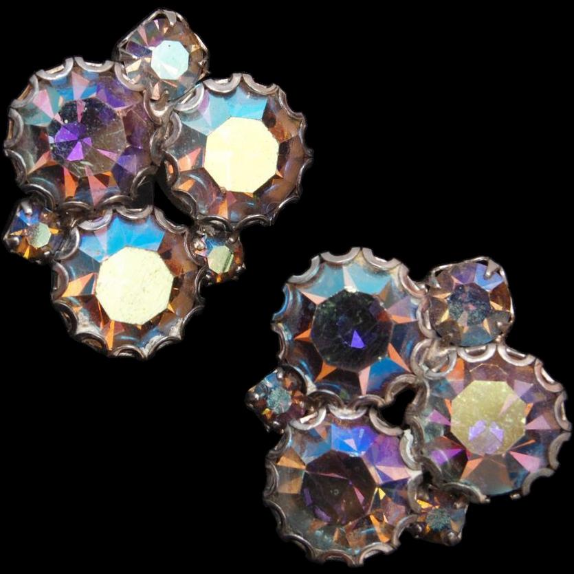 Aurora Borealis Rhinestone Earrings