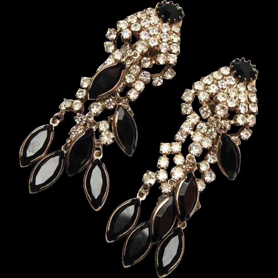 Black and White Long Dangling Earrings