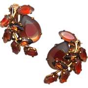 West Germany Red Givre' Earrings