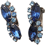 2-Toned Blue Rhinestone Earrings