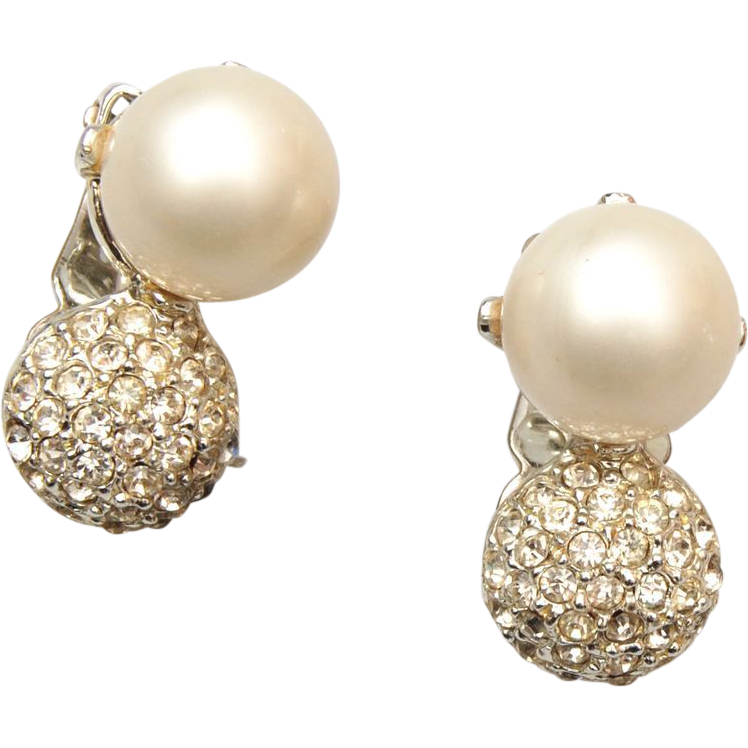 Faux Pearl and Rhinestone In Rhodium Setting Earrings