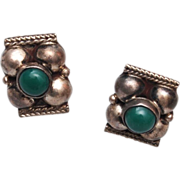Silver Mexico Green Cabochon Earrings