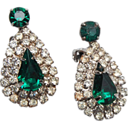Green Prong Set Rhinestone Earrings