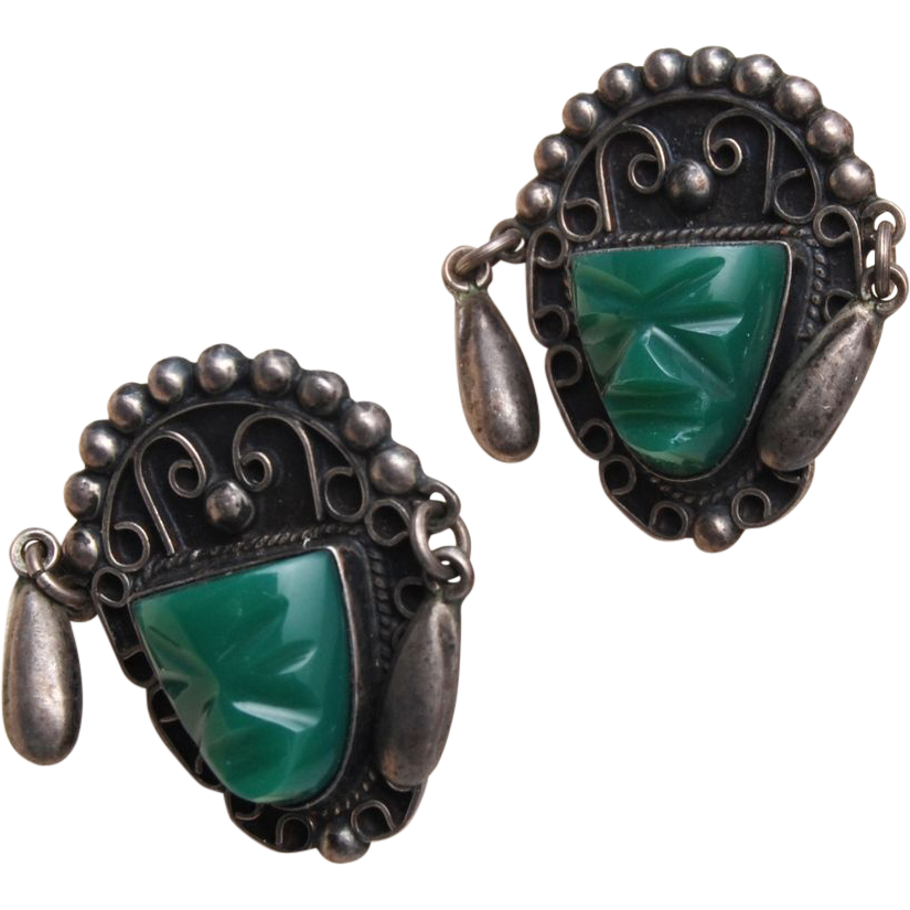 Silver Mexico Green Stone Face Earrings