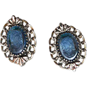 Whiting and Davis Blue Glass Cameo Earrings