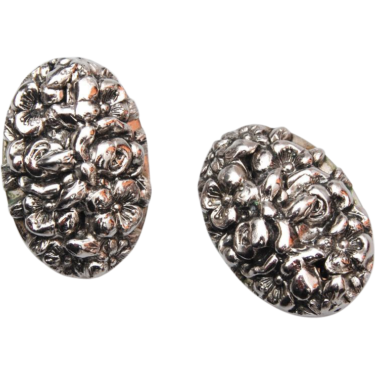 Whiting and Davis Silver Tone Earrings