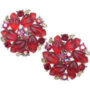 Lisner Glowing Red Leaves Earrings