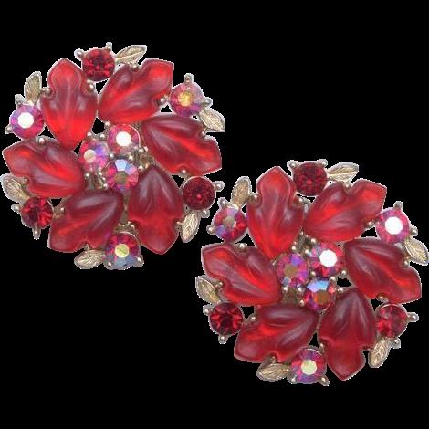 Lisner Glowing Red Leaves Earrings