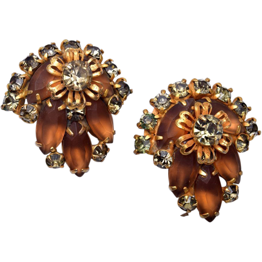Frosted Brown Patent Pending Earrings – Pre 1955