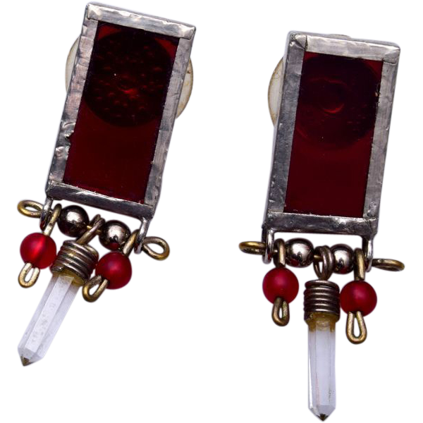 Beautiful Red Glass Pierced Earrings