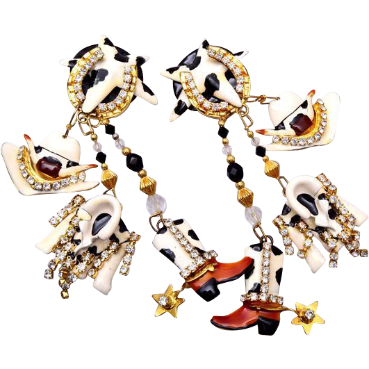 Lunch at the Ritz Cow Girl Earrings