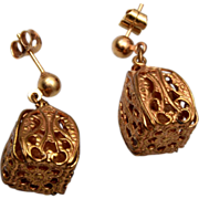 Gold Tone Filigree Pierced Earrings