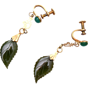 Oriental Jade Leaf Earrings