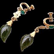 Oriental Jade Leaf Earrings
