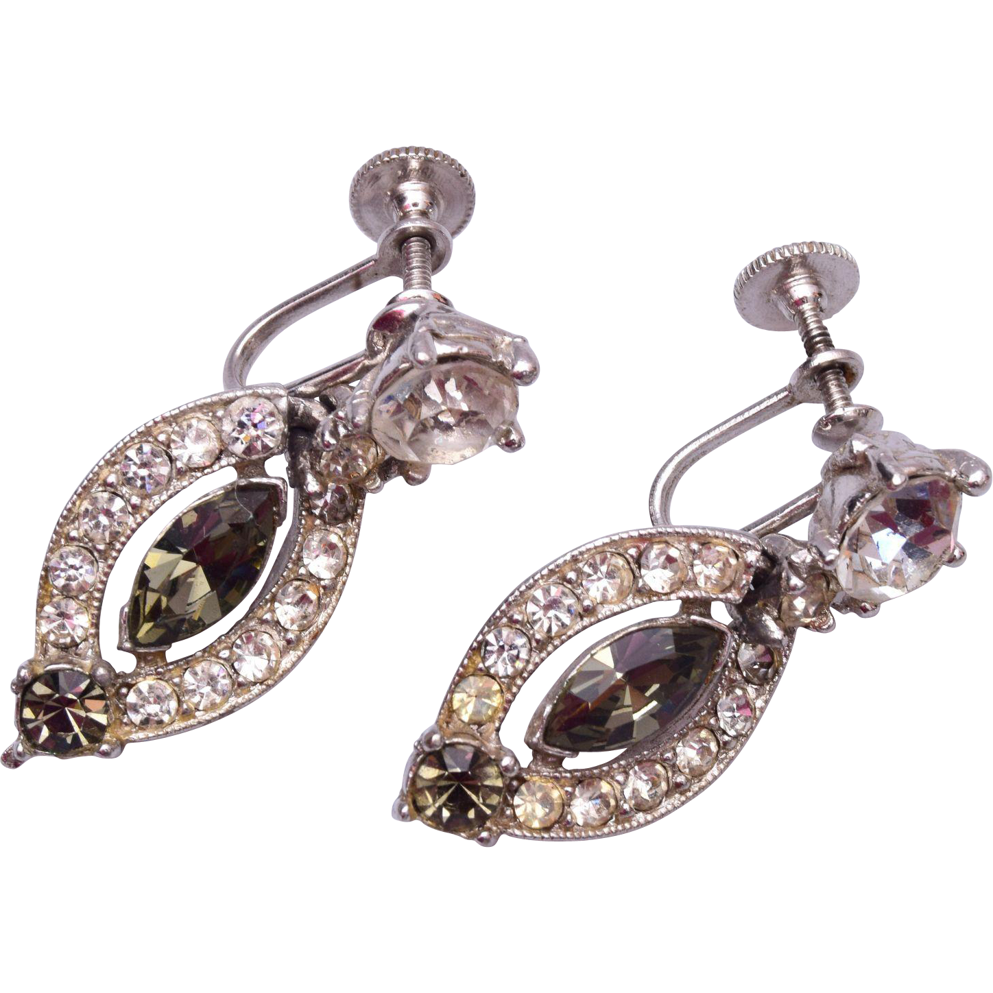 Bogoff Black Diamond and Clear Rhinestone Earrings