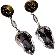 Dangling Clear Faceted Crystal Earrings – Pierced