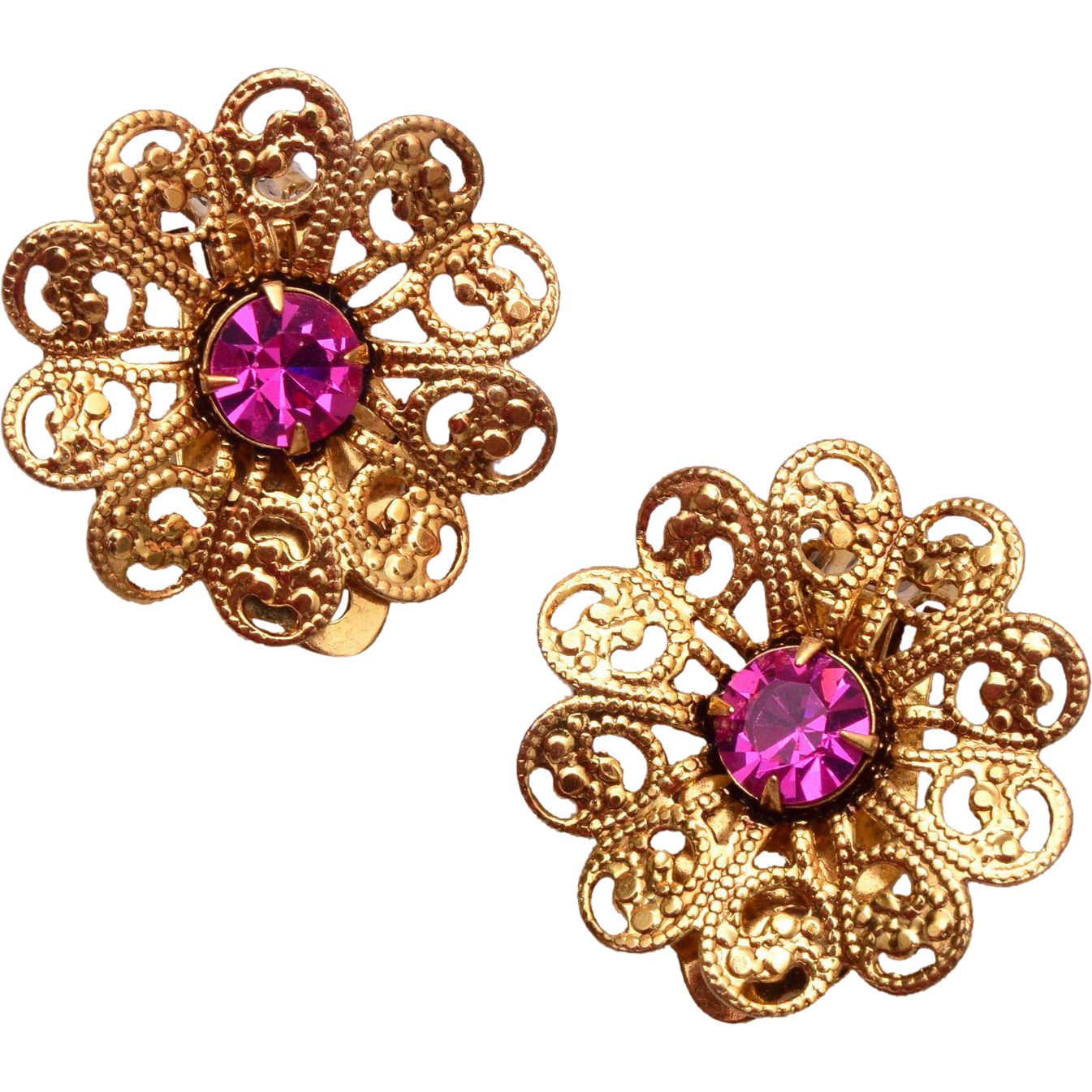 Lisner Filigree and Pink Rhinestone Earrings