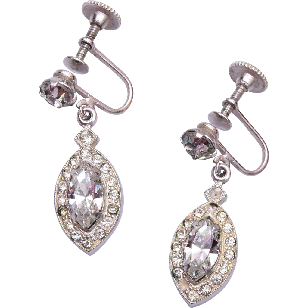 Weiss Clear Rhinestone Dangle Earrings