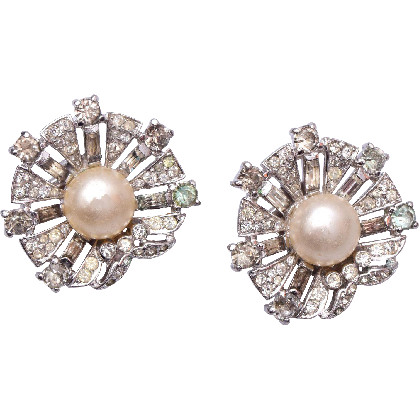 1947 Trifari Sterling Dream Shell Earrings