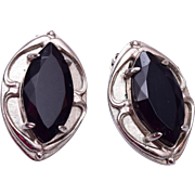 Whiting and Davis Black and Silver Earrings