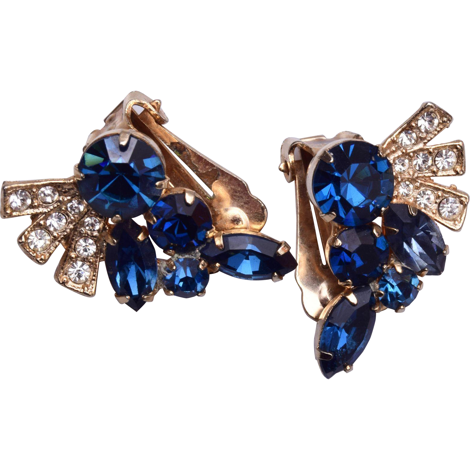Blue Rhinestone Earrings