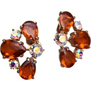 Topaz and AB Rhinestone Earrings