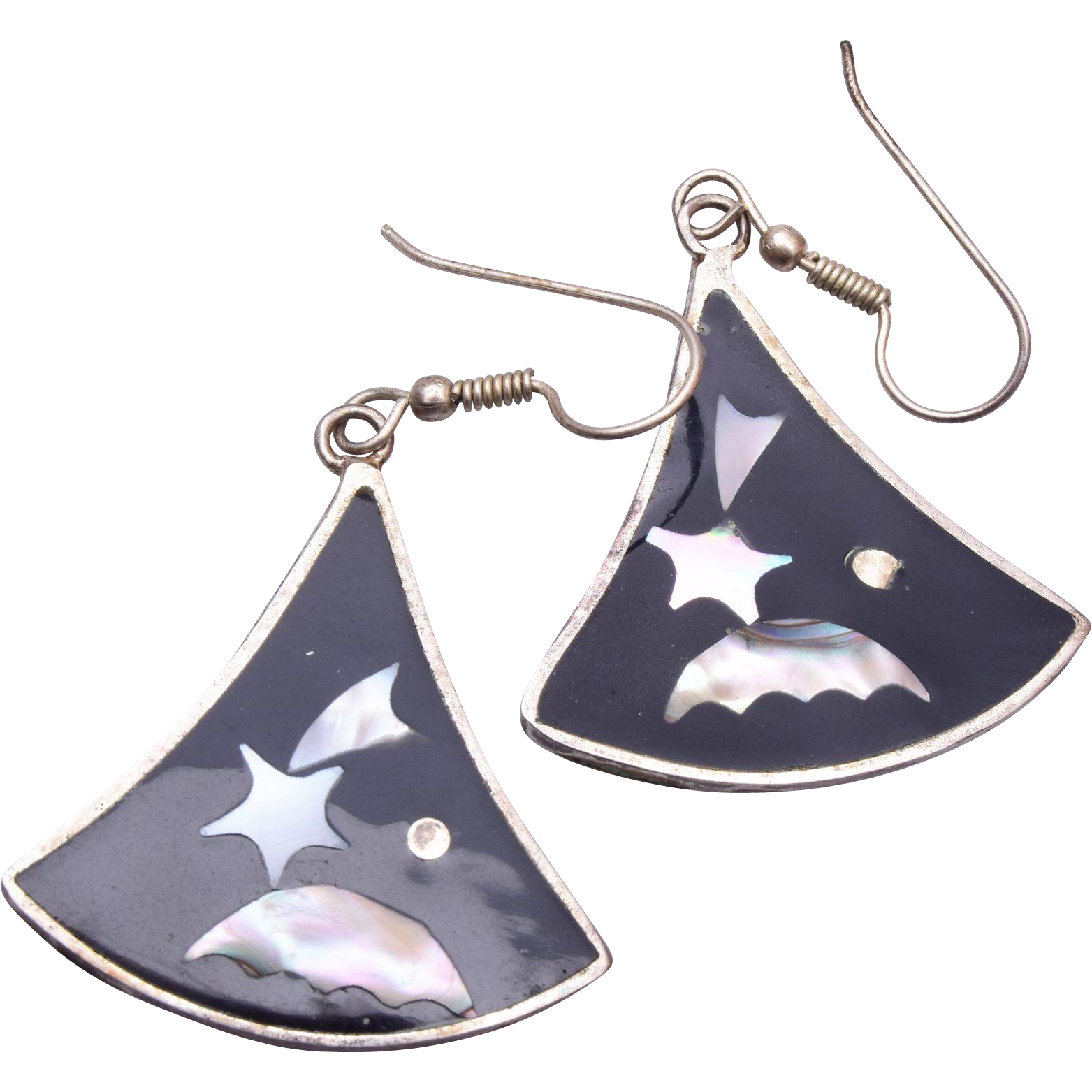 Mexico Sterling and Shooting Star Mother of Pearl Pierced Earrings