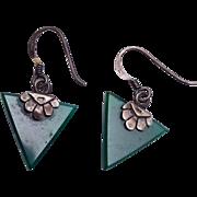 Green Sterling Pierced Earrings