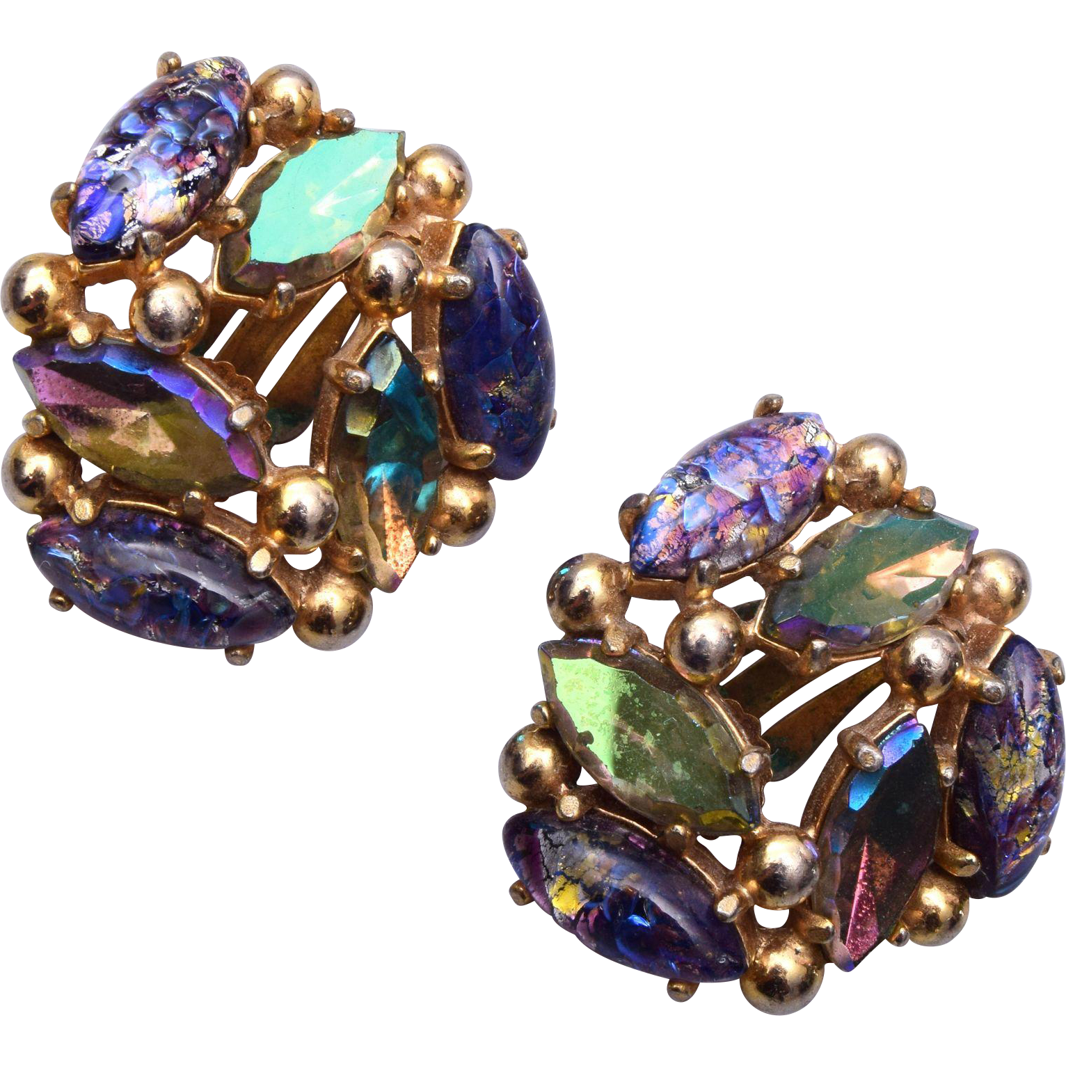 Schiaparelli Foil Glass Earrings