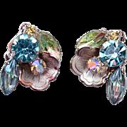 Aqua Molded Rhinestone and Flower Earrings