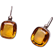 Topaz Colored Faceted Crystal Pierced Earrings
