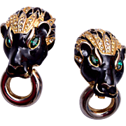 Vintage Panther Door Knocker Earrings